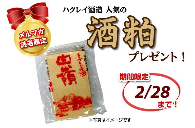 メールマガジン読者限定 酒粕プレゼント 期間限定 2/28まで